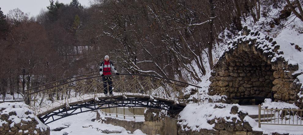 В КМВ зимой. Достопримечательности Кисловодска. Курортный парк. Гора Малое седло.