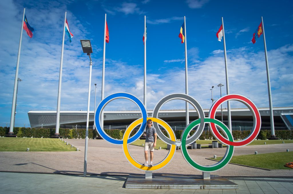 Олимпийские кольца в Олимпийском парке
